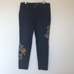 Style & Co Curvy Skinny Leg Gold Embellished Jeans